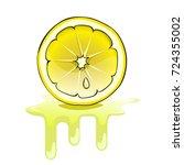 fresh lemon and juicy splashes | Shutterstock .eps vector #724355002