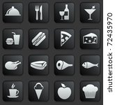 Food Icon On Square Black And...