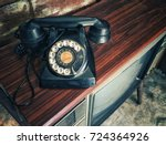 black antique dial telephone... | Shutterstock . vector #724364926