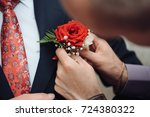 a wedding buddy helps the groom ...   Shutterstock . vector #724380322