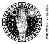 vintage fortune teller hand...   Shutterstock .eps vector #724381012