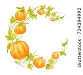 pumpkin moon shape border on...   Shutterstock . vector #724394992