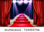showroom with red carpet... | Shutterstock .eps vector #724403746