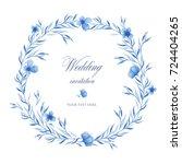 beautiful blue watercolor... | Shutterstock . vector #724404265