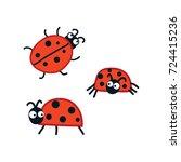 ladybirds set. vector... | Shutterstock .eps vector #724415236