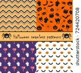 halloween seamless pattern set | Shutterstock .eps vector #724420708