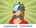 face id smartphone parasite ... | Shutterstock .eps vector #724429036