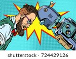 robot vs human  humanity and... | Shutterstock .eps vector #724429126