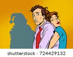 vintage couple man and woman... | Shutterstock .eps vector #724429132