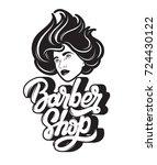 barber shop. vector handwritten ... | Shutterstock .eps vector #724430122