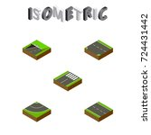 isometric way set of downward ... | Shutterstock .eps vector #724431442