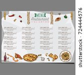 menu italian food template... | Shutterstock .eps vector #724444576