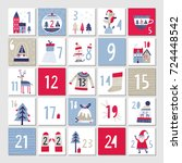 advent calendar. christmas... | Shutterstock .eps vector #724448542