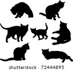 Stock vector set of cats silhouettes in different poses 72444895