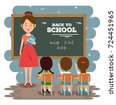 back to school teacher teaching ... | Shutterstock .eps vector #724451965