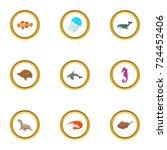 marine fauna icons set. cartoon ... | Shutterstock .eps vector #724452406
