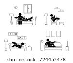 stick figure resting at home... | Shutterstock . vector #724452478