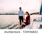 young beautiful married couple... | Shutterstock . vector #724456822