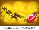 santa cross with reindeer and... | Shutterstock .eps vector #724459336