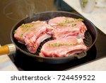 roasted fresh pork meat steak...   Shutterstock . vector #724459522