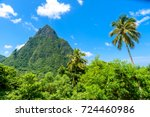 gros and petit pitons near... | Shutterstock . vector #724460986