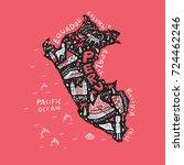 cartoon map of peru. vector... | Shutterstock .eps vector #724462246