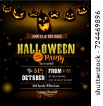 halloween party invitation with ... | Shutterstock .eps vector #724469896