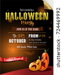 halloween party invitation with ... | Shutterstock .eps vector #724469992