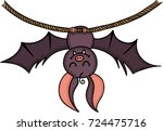 happy bat hanging on a rope  | Shutterstock .eps vector #724475716
