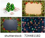 set of christmas and new years... | Shutterstock . vector #724481182