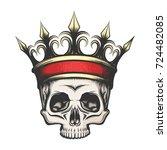 hand drawn human skull in... | Shutterstock .eps vector #724482085