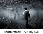 cute pupil walking to the... | Shutterstock . vector #724489468