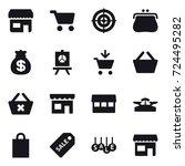 16 vector icon set   shop  cart ... | Shutterstock .eps vector #724495282