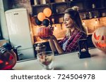 happy halloween  attractive... | Shutterstock . vector #724504978