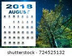 august 2018 calendar with... | Shutterstock . vector #724525132