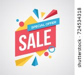 fantastic full color sale design | Shutterstock .eps vector #724534318