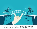 business people running towards ... | Shutterstock .eps vector #724542598