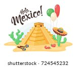 hola mexico composition with... | Shutterstock .eps vector #724545232