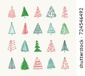 hand drawn set of christmas... | Shutterstock .eps vector #724546492
