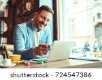 businessman having coffee and... | Shutterstock . vector #724547386