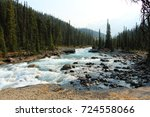 Mistaya wild river near Bow valley road, Banff National Park, AB