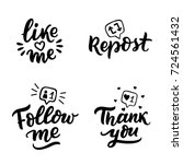 hand drawn lettering set with... | Shutterstock .eps vector #724561432