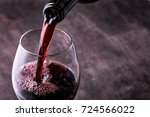 pouring red wine into the glass ... | Shutterstock . vector #724566022