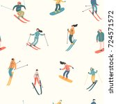 vector illustration of skiers... | Shutterstock .eps vector #724571572
