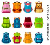 school kids school backpack... | Shutterstock .eps vector #724572775
