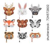 set of cartoon animals party... | Shutterstock .eps vector #724572832