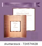 luxury bronze shiny wedding... | Shutterstock .eps vector #724574428