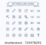 setting  thin line mini icons... | Shutterstock .eps vector #724578292