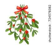 branch of mistletoe with... | Shutterstock .eps vector #724578382