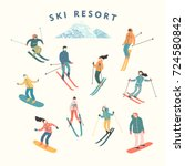 vector illustration of skiers... | Shutterstock .eps vector #724580842